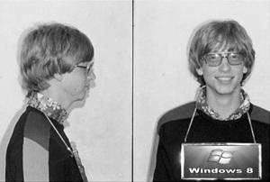 Bill Gates foto frente y perfil 1977
