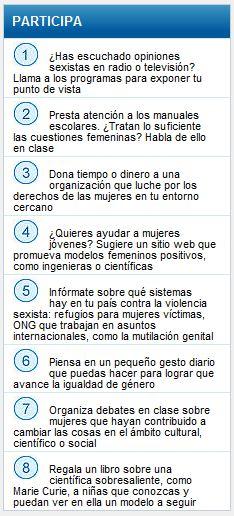 tabla de propuestas de participacion de la unesco para conciencizar sobre derechos de mujeres